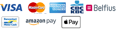 Visa, Mastercard, American Express, CBC/KBC, Belfius, Mister Cash, Amazon Pay, Apple Pay